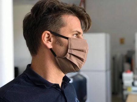 Orvosi vászon maszk LOGÓZVA - barna - 10 db