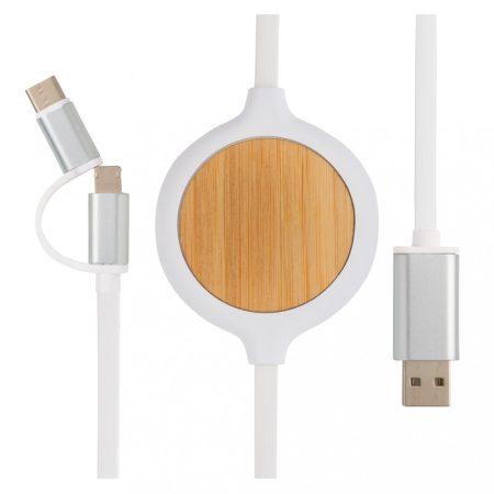 3 az 1-ben kábel 5W-os bambusz vezeték nélküli töltővel