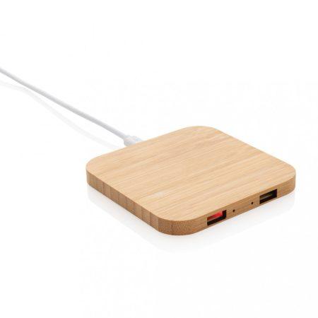 Bambusz 5W-os vezeték nélküli töltő USB kimenettel