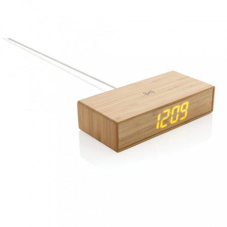Bambusz ébresztőóra 5W-os vezeték nélküli töltővel