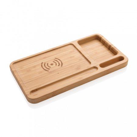 Bambusz íróasztal rendszerező 5W-os vezeték nélküli töltővel