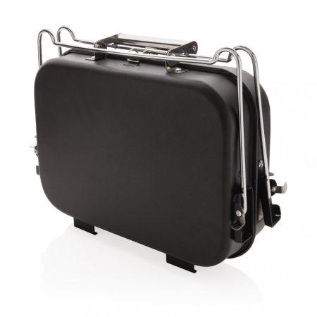 Hordozható deluxe grillsütő bőrönd formájú tartóban