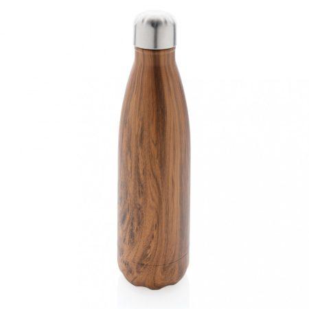 Vákuumszigetelt, rozsdamentes acél palack fa nyomattal