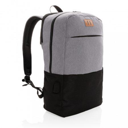 """Modern 15,6""""-es USB & RFID laptop hátizsák, PVC-mentes"""