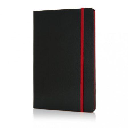 Deluxe keményfedelű A5-ös jegyzetfüzet színes lapéllel